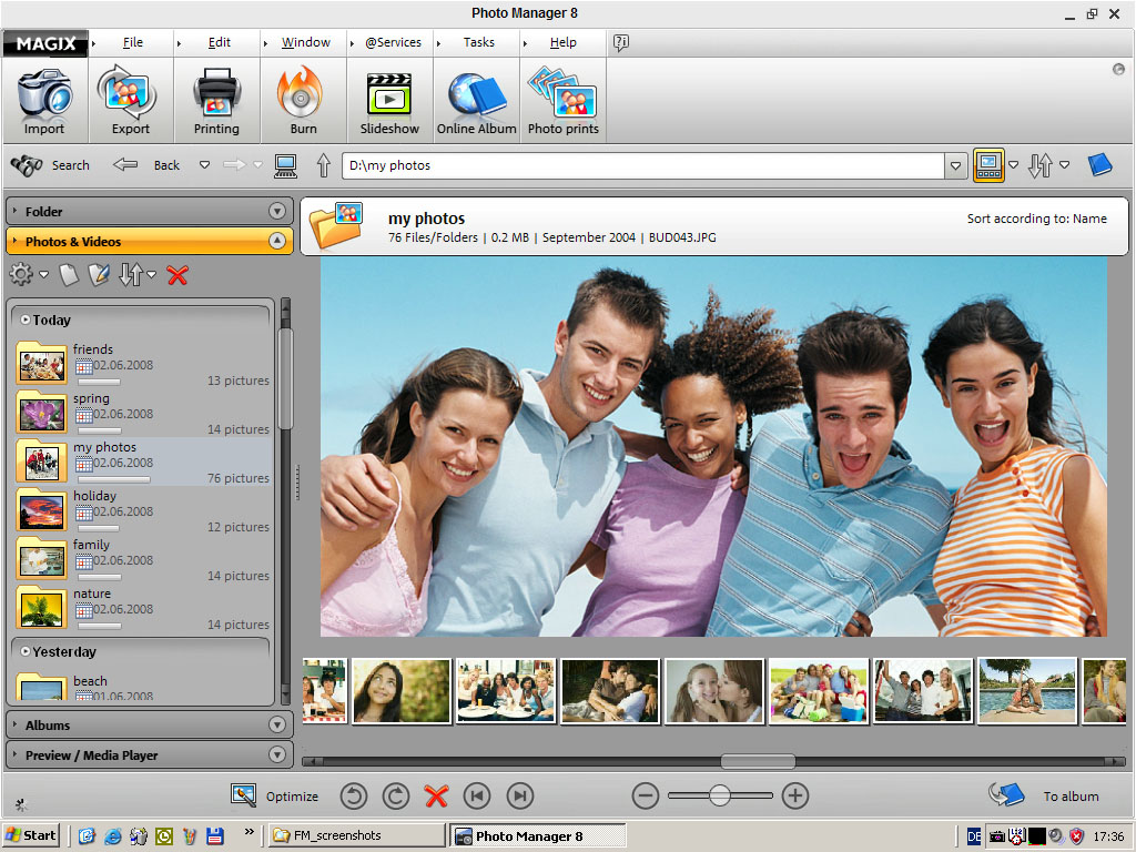 Click to view MAGIX Photo Manager 8 screenshot