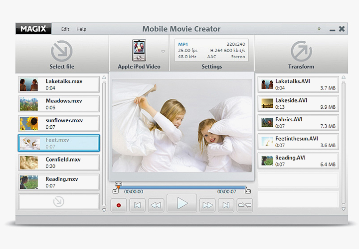 Click to view MAGIX Mobile Movie Creator 1.0 screenshot