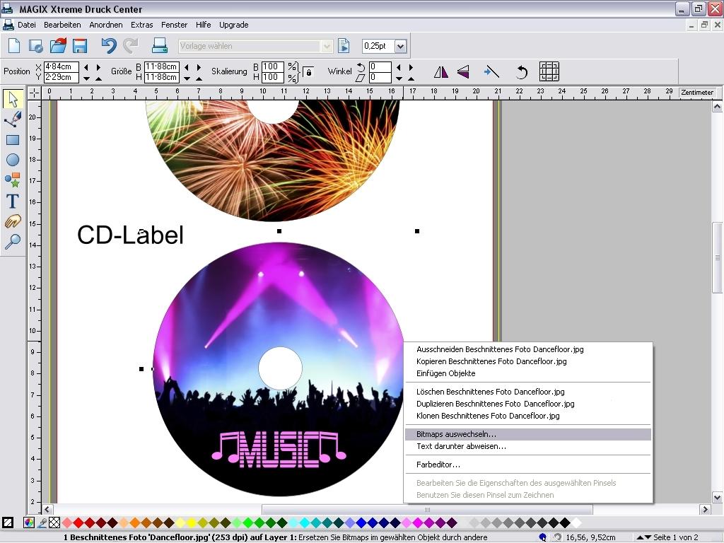 Screenshot vom Programm: MAGIX Xtreme Druck Center